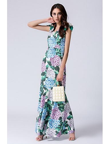Damen Lose Hülle Kleid-Ausgehen Lässig/Alltäglich Sexy Blumen V-Ausschnitt Maxi Ärmellos Seide Sommer Mittlere Hüfthöhe Mikro-elastisch