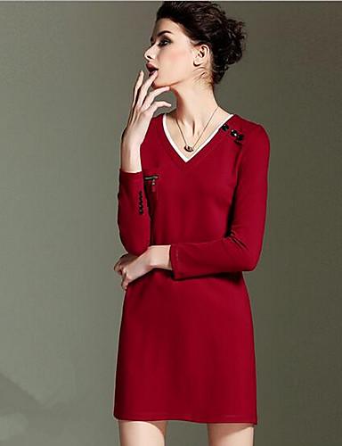 Damen Hülle Kleid-Lässig/Alltäglich Solide V-Ausschnitt Knielang Übers Knie Langarm Baumwolle Herbst Mittlere Hüfthöhe Mikro-elastisch