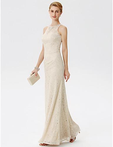 Szűk szabású Illúziós nyakpánt Földig érő Csipke Örömanya ruha val vel Gyöngydíszítés Kristály díszítés által LAN TING BRIDE®