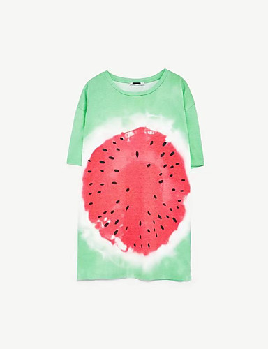 Damen Druck Einfach Sexy Street Schick Ausgehen Lässig/Alltäglich T-shirt,Rundhalsausschnitt Sommer Kurzarm Baumwolle Polyester Dünn