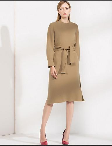 Damen Hülle Kleid-Lässig/Alltäglich Solide Rundhalsausschnitt Knielang Langarm Wolle Herbst Mittlere Hüfthöhe Mikro-elastisch Mittel