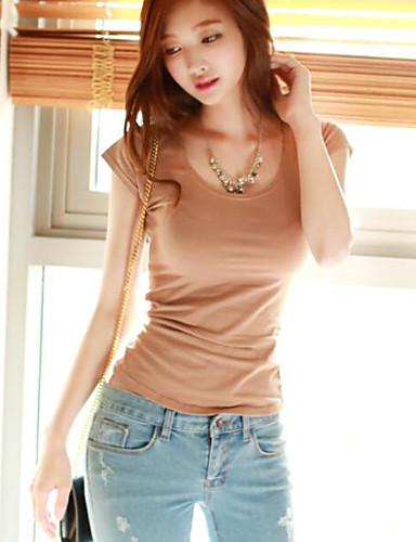 Damen Solide-Einfach T-shirt