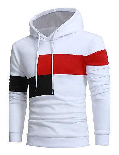 Men's Active Long Sleeve Long Hoodie - Solid Colored Round Neck White XL / Fall