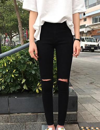 Damen Niedlich Mittlere Hüfthöhe Mikro-elastisch Eng Skinny Hose Solide