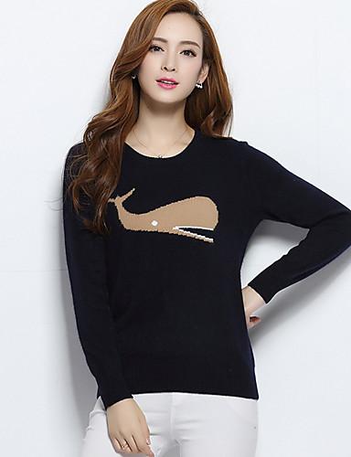 Damen Standard Pullover-Lässig/Alltäglich Druck Rundhalsausschnitt Langarm Polyester Frühling Dünn Mikro-elastisch