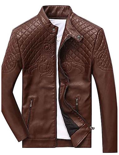 Herren Solide Einfach Lässig/Alltäglich Lederjacken,Ständer Herbst Winter Lange Ärmel Standard Kunstseide Polyester