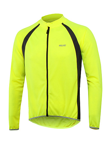cheap Cycling Jerseys-Arsuxeo Men's Long Sleeve Cycling Jersey Red Green Blue Bike Jersey Top Reflective Strips Sports 100% Polyester Mountain Bike MTB Road Bike Cycling Clothing Apparel / Stretchy