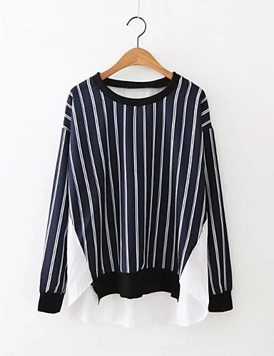 Damen Solide Gestreift Einfach Street Schick Ausgehen Lässig/Alltäglich Arbeit T-shirt,Rundhalsausschnitt Sommer Langarm Leinen Polyester