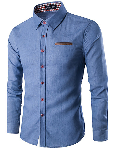 Men's Party / Work Street chic Cotton Slim Shirt - Color Block Classic Collar / Long Sleeve