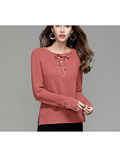 Women's Daily Solid Colored Long Sleeve Regular Pullover, V Neck Fall Red / Camel / Wine L / XL / XXL / Lace up