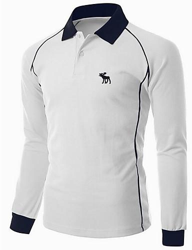 Herrn Einfarbig - Einfach Baumwolle T-shirt, Hemdkragen / Bitte wählen Sie eine Nummer größer als Ihre normale Größe. / Langarm