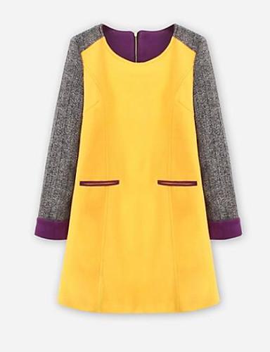 Damen Etuikleid Kleid-Lässig/Alltäglich Einfarbig Rundhalsausschnitt Übers Knie Langarm Andere Frühling Herbst Mittlere Hüfthöhe