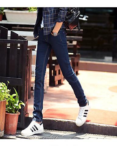 Herren Einfach Mittlere Hüfthöhe Mikro-elastisch Jeans Gerade Schlank Hose Solide