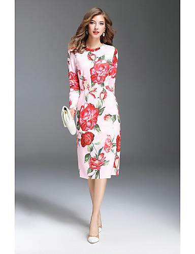 Damen Büro Hülle Kleid - Druck, Blumen Midi