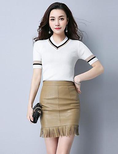 Damen Standard Pullover-Lässig/Alltäglich Solide Rundhalsausschnitt Kurzarm Baumwolle Andere Herbst Mittel Mikro-elastisch