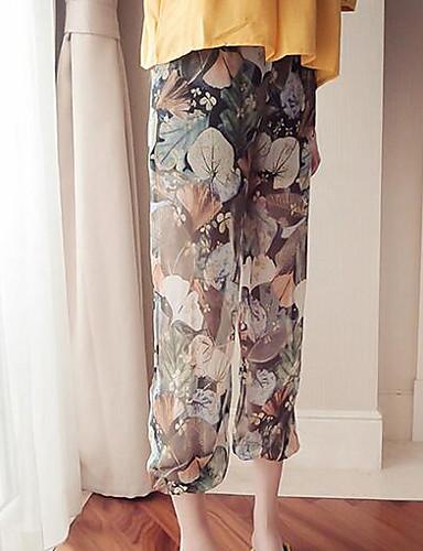 Damen Einfach Mittlere Hüfthöhe Unelastisch Breites Bein Haremshosen Hose Blumen