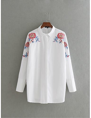 Damen Stickerei Einfach Street Schick Lässig/Alltäglich Ausgehen T-shirt,Hemdkragen Sommer Langarm Seide Baumwolle Mittel Dünn
