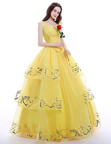 cfa93e71357a Princess Queen Cosplay Costume Party Costume Masquerade Women's Movie Cosplay  Yellow Top Skirt Petticoat Christmas Halloween Carnival Chiffon