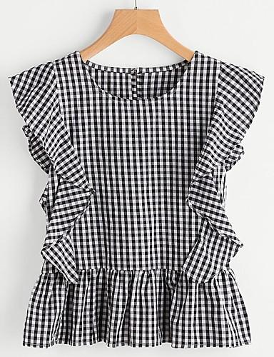 Damen Schachbrett Street Schick Lässig/Alltäglich Ausgehen Hemd,Rundhalsausschnitt Frühling Sommer Kurzarm Baumwolle Dünn
