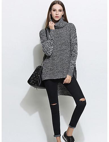 Damen Standard Pullover-Lässig/Alltäglich Einfach Solide Rollkragen Langarm Acryl Herbst Winter Mittel Dehnbar