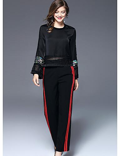FRMZ Women's Active Wide Leg Pants - Striped / Color Block