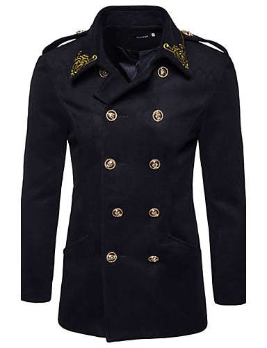 Men's Weekend Simple Vintage Casual Military Long Slim Pea Coat Print Embroidered Shirt Collar