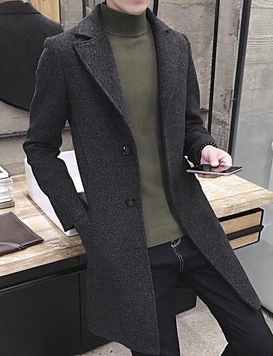 Vékony Férfi Kabát - Egyszínű Gyapjú