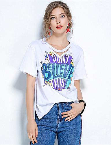 Damen Solide Druck Einfach Lässig/Alltäglich T-shirt,Rundhalsausschnitt Kurzarm Baumwolle