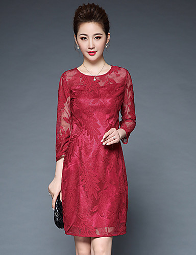 Damen Hülle Kleid-Ausgehen Einfach Druck Rundhalsausschnitt Knielang 3/4 Ärmel Polyester Herbst Mittlere Hüfthöhe Mikro-elastisch Mittel