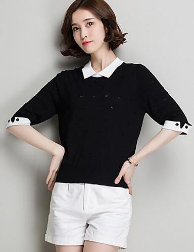 Damen Standard Pullover-Lässig/Alltäglich Solide Gestreift Druck Rundhalsausschnitt Halbe Ärmel Leinen Andere Frühling Sommer Mittel