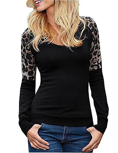 Damen Leopard Sexy Lässig/Alltäglich T-shirt,Rundhalsausschnitt Herbst Langarm Baumwolle Mittel