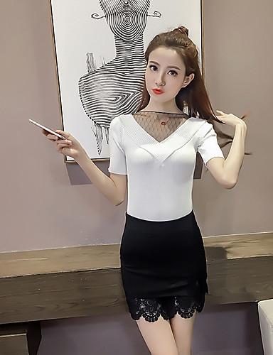 Damen Standard Pullover-Lässig/Alltäglich Solide V-Ausschnitt Kurzarm Polyester Sommer Dünn Mikro-elastisch