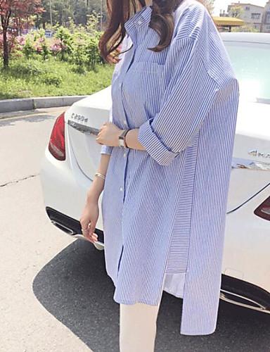 Damen Gestreift Einfach Ausgehen Hemd,Hemdkragen Sommer Langarm Baumwolle