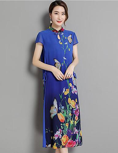 Damen Bodycon Kleid-Lässig/Alltäglich Druck Einfarbig Rundhalsausschnitt Knielang Kurzarm Andere Frühling Sommer Mittlere Hüfthöhe