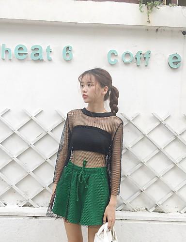 Damen Solide Grid / Plaid Street Schick Ausgehen Bluse Hose Anzüge,Rundhalsausschnitt Sommer ¾ Ärmel Rückenfrei Unelastisch