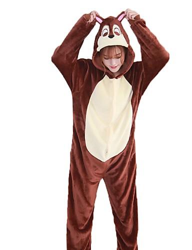 467a078d Adulto Pijamas Kigurumi Ardilla Pijamas de una pieza Franela Marrón Cosplay  por Hombre y mujer Ropa de Noche de los Animales Dibujos animados Festival  ...
