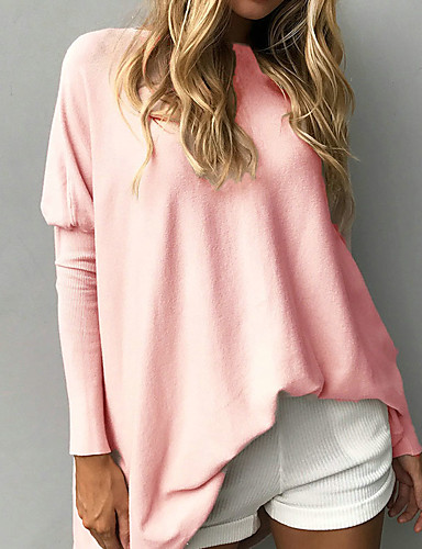 Women's Long Sleeves Long Pullover - Solid Colored Crew Neck
