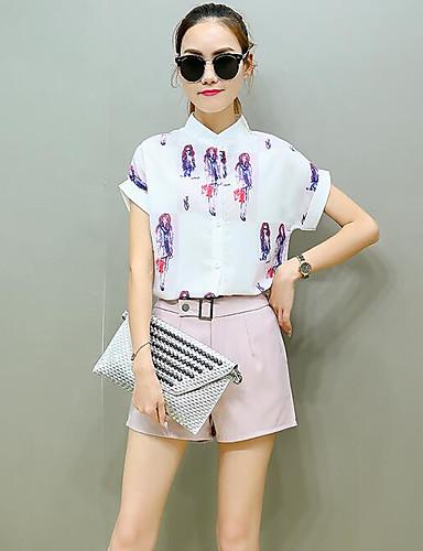 Damen Druck Einfach Lässig/Alltäglich Shirt Hose Anzüge,Rundhalsausschnitt Sommer Kurzarm