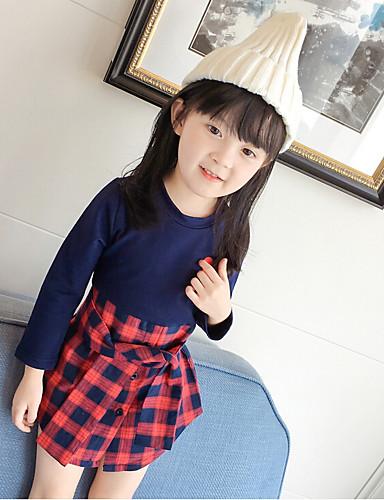 Mädchen Kleid Schottenmuster Baumwolle Polyester Frühling Herbst Lange Ärmel