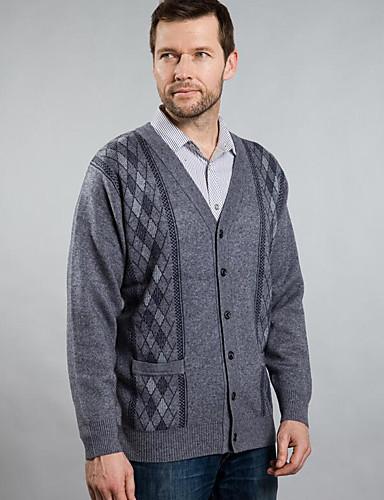 Herren Standard Strickjacke-Lässig/Alltäglich Geometrisch V-Ausschnitt Langarm Baumwolle Herbst Winter Mittel Mikro-elastisch