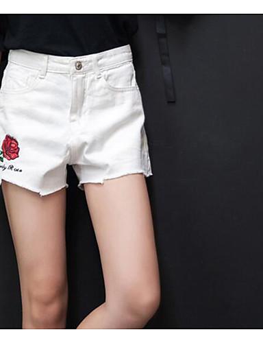 Damen Sexy Mittlere Hüfthöhe Mikro-elastisch Kurze Hosen Gerade Hose Solide
