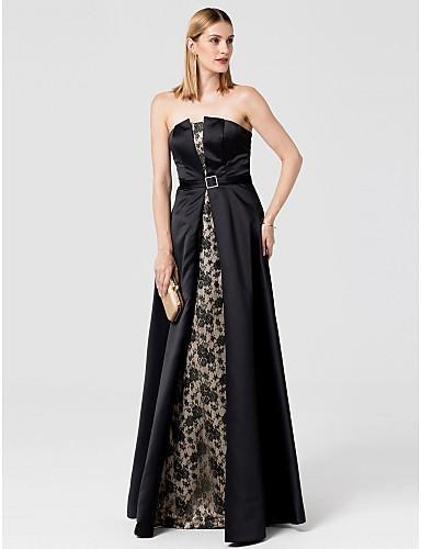 Γραμμή Α Στράπλες Μακρύ Δαντέλα Σατέν Επίσημο Βραδινό Φόρεμα με Ζώνη / Κορδέλα με TS Couture®