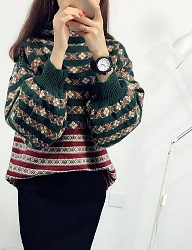 Damen Standard Pullover-Lässig/Alltäglich Geometrisch Rollkragen Langarm Baumwolle Leinen Herbst Mittel Mikro-elastisch