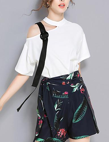 Damen Print Einfach Sexy Party T-Shirt-Ärmel Hose Anzüge,Rundhalsausschnitt Sommer Herbst Kurzarm Patchwork