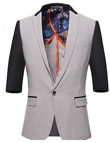 Herren Solide Gestreift Druck Street Schick Lässig/Alltäglich Blazer,Kapuze Sommer Halbe Ärmel Standard PU Polyester Nylon