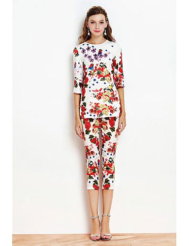 Damen Druck Anspruchsvoll Alltag T-shirt Hose Anzüge,U-Ausschnitt Frühling Halbe Ärmel Polyester