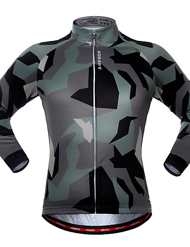 cheap Cycling Clothing-WOSAWE Men's Women's Long Sleeve Cycling Jersey - Camouflage Camo / Camouflage Bike Jersey Top Quick Dry Sports Polyester Spandex Mountain Bike MTB Road Bike Cycling Clothing Apparel / Stretchy