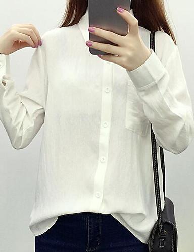 نساء قميص كاجوال/يومي بسيط طباعة قبعة القميص كم طويل قطن كتان أخرى