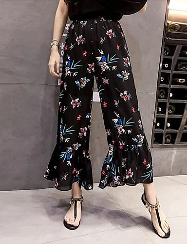 Damen Einfach Hohe Hüfthöhe Mikro-elastisch Breites Bein Chinos Hose Sommer Blumen