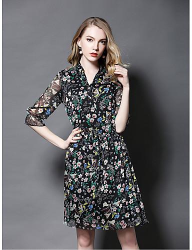 Damen Hülle Kleid-Ausgehen Niedlich Druck V-Ausschnitt Knielang 3/4 Ärmel Polyester Sommer Mittlere Hüfthöhe Mikro-elastisch Mittel
